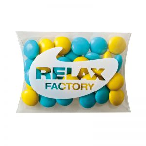 15 g farbige Schoko-Linsen in Mini-Kissen und Logodruck