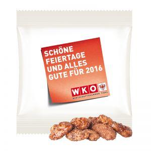 15 g feuergebrannte Mandeln im Werbetütchen mit Logodruck