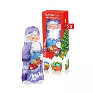 15 g Milka Weihnachtsmann in einer Werbekartonage