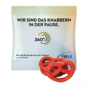 15 g Mini Brezeln mit Erdbeere überzogen im Werbetütchen mit Logodruck