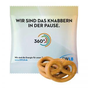 15 g Mini Brezeln mit Karamell überzogen im Werbetütchen mit Logodruck