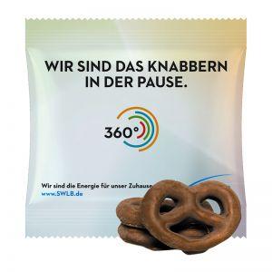 15 g Mini Brezeln mit Schokolade überzogen im Werbetütchen mit Logodruck