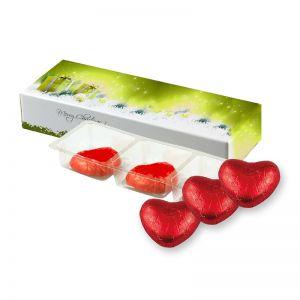 15 g rote Schoko-Herzen in Faltschachtel mit Werbedruck