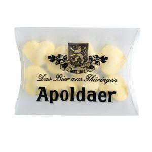 15 g Traubenzucker-Herzchen Zitrone in Mini-Kissen und Logodruck