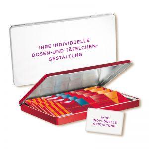 150 g FEODORA Schokotäfelchen in Präsentdose mit Werbeanbringung