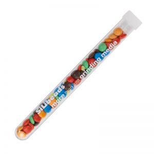 16 g farbige Schoko-Linsen im Reagenzglas mit Werbedruck