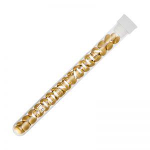 16 g goldene Schoko-Linsen im Reagenzglas mit Werbedruck