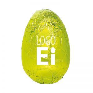 18 g Schoko-Osterei in Stanniol grün mit Logodruck