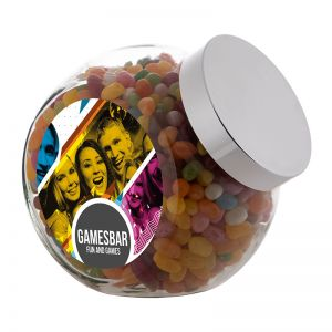 2 Liter Schräghalsglas befüllt mit Jelly Beans und mit Werbeetikett