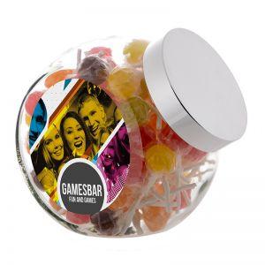 2 Liter Schräghalsglas befüllt mit Lollies und mit Werbeetikett