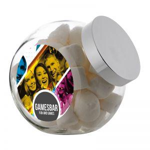 2 Liter Schräghalsglas befüllt mit Marshmallows und mit Werbeetikett