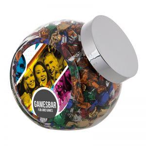 2 Liter Schräghalsglas befüllt mit Metallic Sweets und mit Werbeetikett