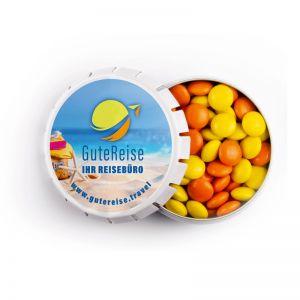 20 g farbige Schoko-Linsen in Springdeckeldose mit Werbedruck