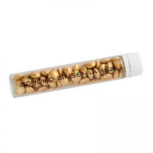20 g goldene Schoko-Linsen im PET-Röhrchen mit Werbedruck