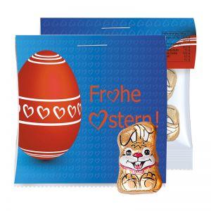 20 g Schoko-Hasen im Werbtütchen mit Werbereiter