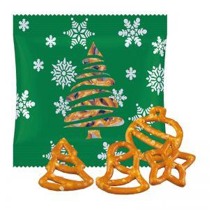 20 g Weihnachtsbrezel-Mix in Werbetüte mit Logodruck