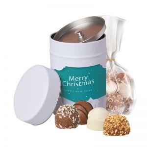 200 g Pralinen-Mix in Keksdose mit Werbe-Etikett