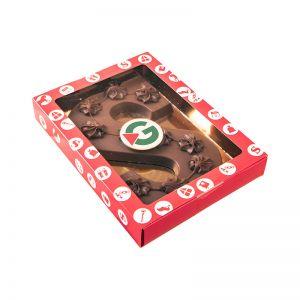 200 g Schokoladen S-Buchstabe mit Logo im Geschenkkarton mit Sichtfenster