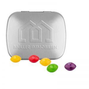 22 g Skittles Kaubonbons in Klappdeckeldose mit Prägung