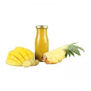 245 ml Bio Smoothie Ananas, Mango, Ingwer & Honig mit Werbeetikett