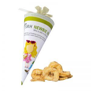 25 g Bio Bananenchips in einer Schultüte mit Werbedruck