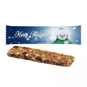 25 g Bio Weihnachtsriegel Bratapfel-Zimt im Flowpack mit Werbedruck
