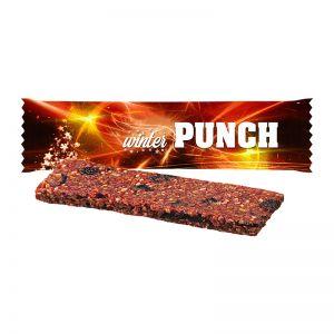 25 g Bio Weihnachtsriegel Winter-Punch im Flowpack mit Werbedruck