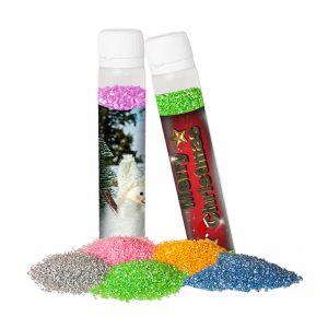 25 g Dekor-Zucker im Kunststoff Reagenzglas mit Werbe-Etikett und Logodruck