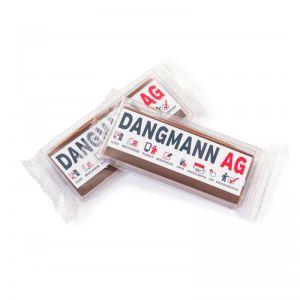 25 g Karamell-Schokoladenriegel handgeschöpft mit Werbeetikett