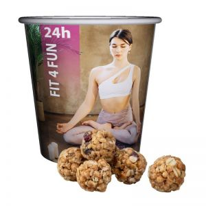 25 g Proteinbällchen mit Cranberries im Snackbecher mit Werbedruck