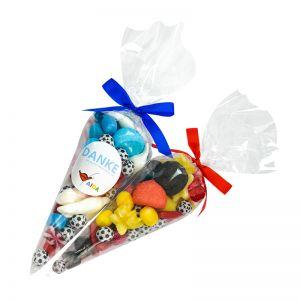 250 g Fußball Süßigkeiten-Spitztüte in Länderfarben und mit Werbeetikett