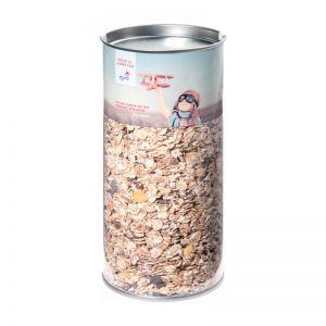 250 g Schoko Müsli in Klarsichtdose mit Werbebanderole
