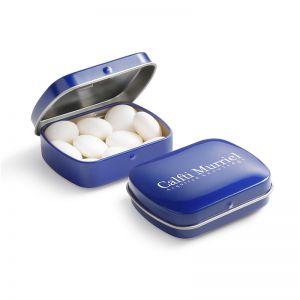 28 g mentos Mint in Mini Klappdeckeldose mit Werbedruck