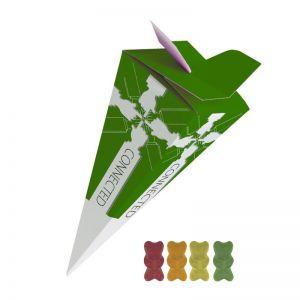 30 g Bio Gummibärchen ohne Gelatine in Präsent-Pyramide mit Werbedruck