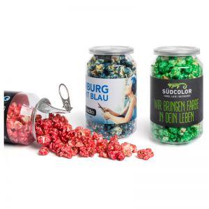 30 g Crazy Popcorn in kleiner Dose mit Banderole und Logodruck