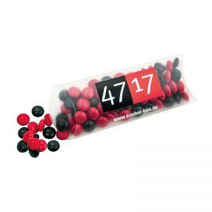 30 g farbige Schoko-Linsen in Maxi-Kissen und Logodruck