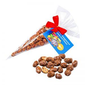 30 g gebrannte Erdnüsse in Spitztüte und Kärtchen mit Werbedruck