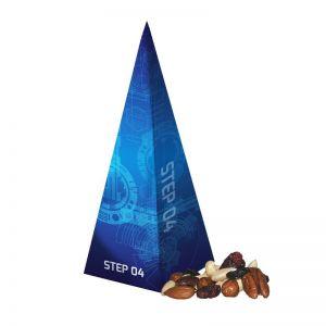 30 g Premium Studentenfutter in Präsent-Pyramide mit Werbedruck