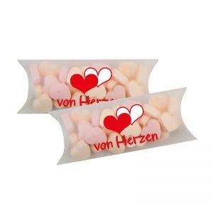 30 g Traubenzucker-Herzchen in Maxi-Kissen und Logodruck
