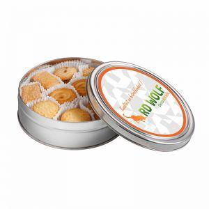 340 g Kekse in einer Dose mit Werbe-Etikett und Logodruck