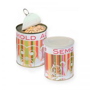 350 g Schoko Müsli in Aroma-Metalldose mit Werbebanderole