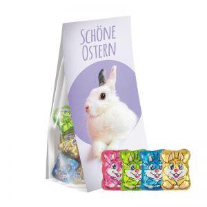 36 g Schoko-Hasen im Standbeutel mit Werbereiter