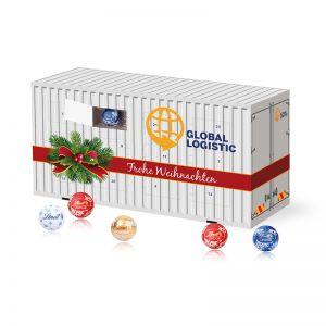 3D Adventskalender Container mit Werbedruck