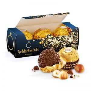 3er Ferrero Rocher in Werbekartonage mit Logodruck