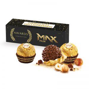3er Ferrero Rocher Präsent in Werbekartonage mit Logodruck