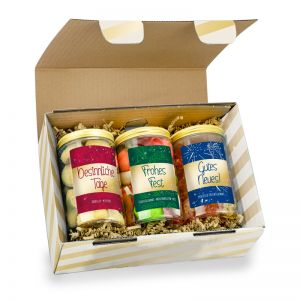 3er Naschdosen-Set in bedruckbarer Geschenkbox