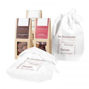 3er Snack im Baumwollsäckchen mit Werbebedruckung