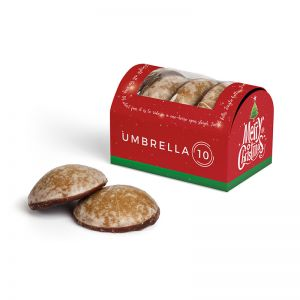 4-er Mini-Lebkuchen in Werbekartonage mit Logodruck