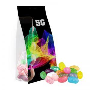 40 g Express Jelly Beans Süßer-Mix im Standbeutel mit Werbereiter