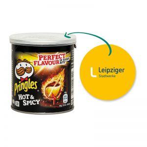 40 g Mini Pringles Hot & Spicy mit Werbeflyer und Logodruck